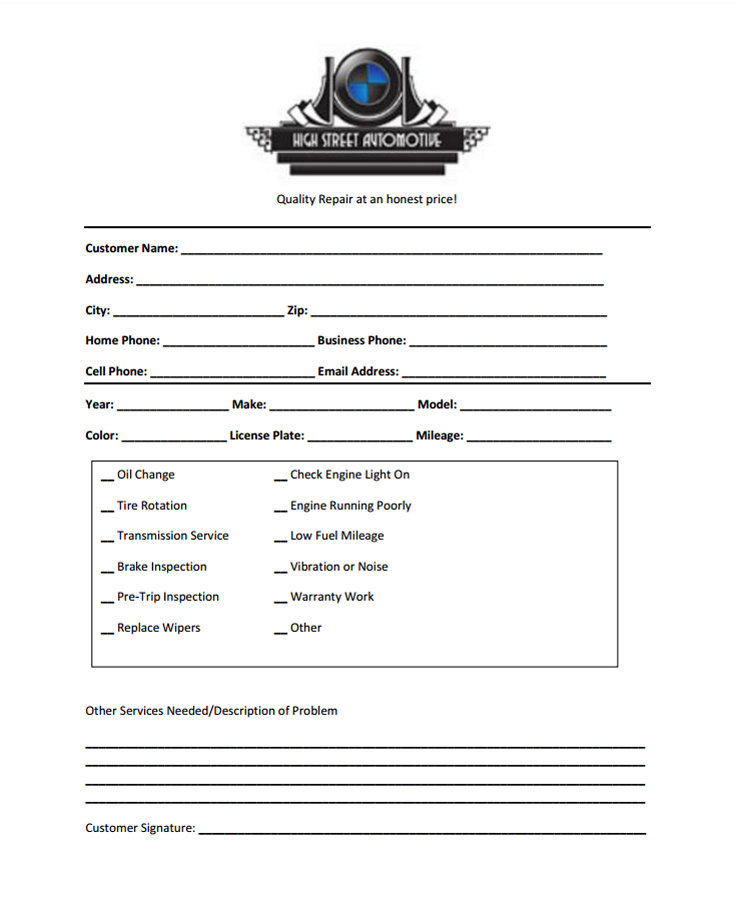 Drop Off Form